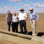 Facing drought: Bishop Michael McCarthy (third from left) visits a drought-ravaged property north of Muttaburra with (from left) property owners Francis, Anne and John Ahern