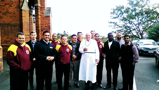 Diamond days: Br Roger Burke with seminarians from Holy Spirit Provincial Seminary.