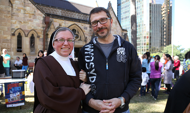 Carmelite Sister with brother