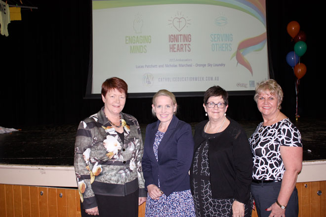 Encouraging parents: Brisbane Catholic Education executive director Pam Betts, Queensland Education Minister Kate Jones, Federation of Parents' and Friends' Association Queensland executive director Carmel Nash and P and F Archdiocesan (Brisbane) chair Kaylene Campbell.
