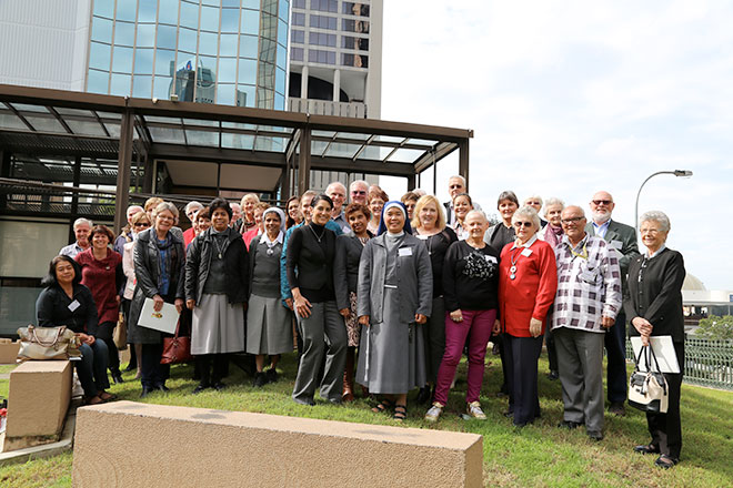 Wise guide: Abuse prevention expert Monica Applewhite with prison and hospital chaplains working in Brisbane archdiocese.