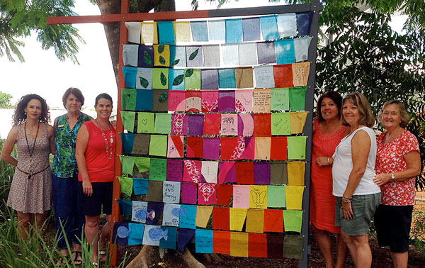 Together: (From left) Sonia Aalberts, Mary Sanders, Vanessa Munro, Jonnene Bellis, Chris McCane and Jane Lennon contributed to the staff art piece now standing in the grounds of Marymount Primary School.