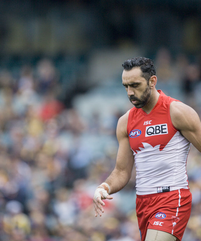 Racism: Adam Goodes of the Sydney Swans has been subjected to continued booing and taunts during AFL matches. Photo: AAP/Tony McDonough