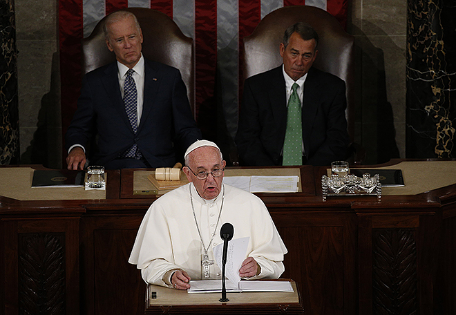 Historic speech: Pope Francis addresses a joint meeting of the US Congress as Vice President Joe Biden (left) and Speaker of the House John Boehner look on in the House of Representatives Chamber at the US Capitol in Washington.