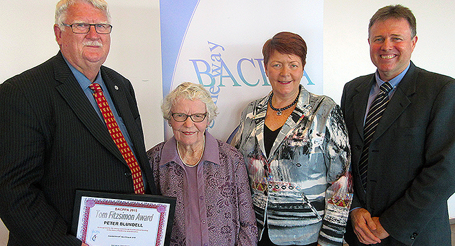 Award winner: Peter Blundell with Margaret Fitzsimon, BCE executive director Pam Betts and BACPPA president David Cashman.