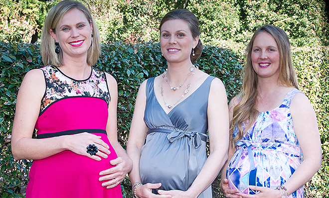 Modelling miracles: Mums Jayne Gentry, Bernadette Ross and Belinda Lanzon model Kerri Brennan's fashion line from Little Miracles Maternity Wear in Toowomba.