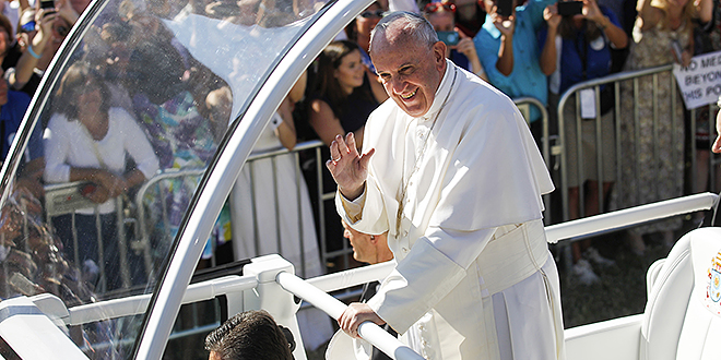 Blessed day: Pope Francis arrives for Mass and the canonisation of St Junipero Serra at the Basilica of the National Shrine of the Immaculate Conception in Washington. Photo: CNS