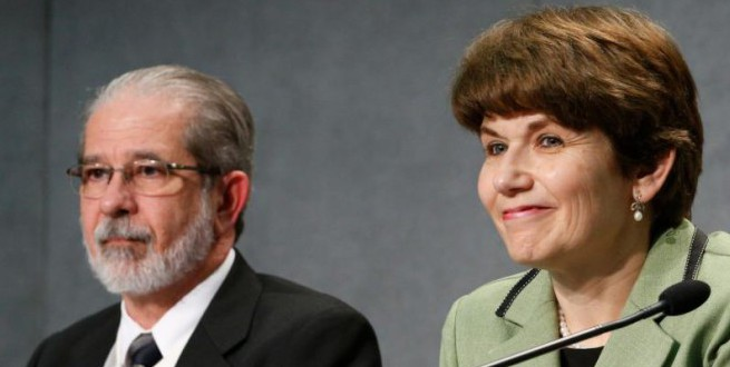 Brazilian couple attend press briefing after session of Synod of Bishops at Vatican
