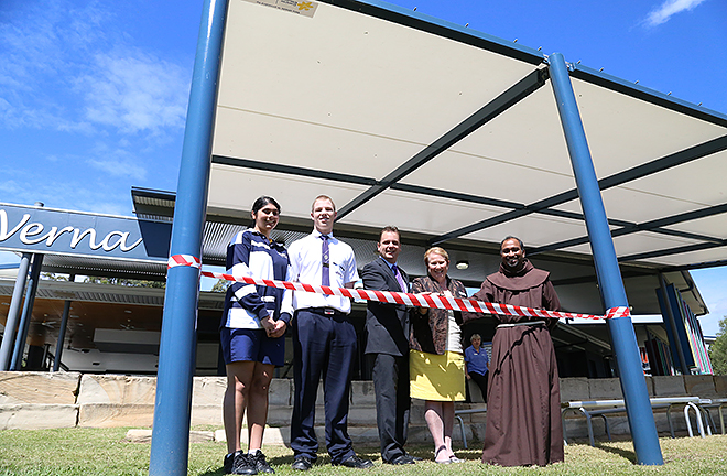 Cancer awareness: Students Nikita Mathur Clare and Lachlan St Pierre with Mark Bootham, Assisi Catholic College principal Dora Luxton and Franciscan Friar Antony Selvaraj.