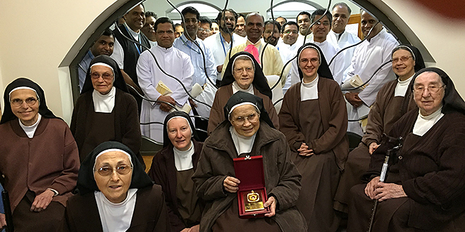 Gathering: Carmelites of Mary Immaculate, who travelled from across the globe to discuss their mission and undertake their renewal program in Brisbane, visit the Carmelite nuns at Ormiston.