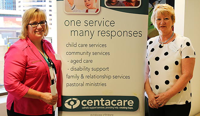 Dementia awareness: Centacare Community Services senior director Jenny Clark (left) and Enoggera service manager Anne Donaghy at the Dementia Friendly Communities Conference in Brisbane.