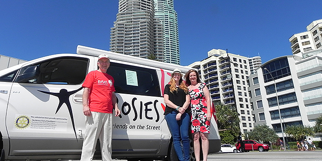 Generous donation: Rosies general manager Andrew O'Brien with Jacqui Green and Gold Coast co-ordinator Wendy Coe after Australian packaging company BioPak offered the charity 100,000 biodegradable cups.