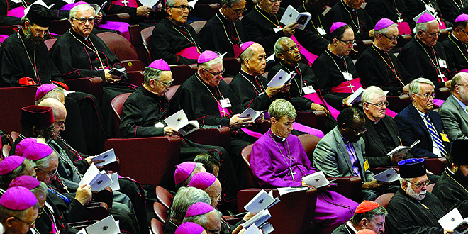 Family session: Cardinals, bishops and other delegates attend a session of the Synod of Bishops on the family at the Vatican on October 15. Photo: CNS/Paul Haring