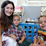 Teacher Majella Ritchie with two indigenous students
