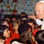 John Paul II with students in a Melbourne classroom