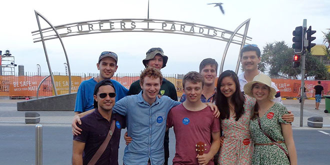 Schoolies team: Members of The Culture Project and their supporters gather at Surfers Paradise for their Schoolies asignment.