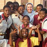 Sr Mel Dwyer with Malawi students