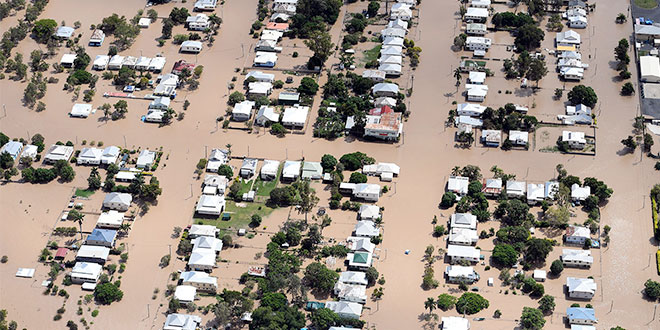 Rockhampton houses surrounded by floodwaters
