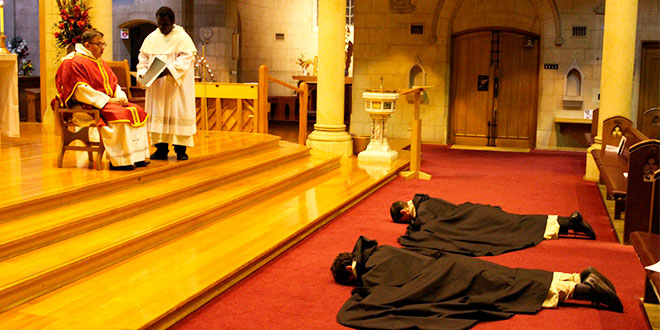 Dominicans prostrate for First Professions