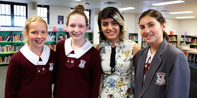 Mojgan Shamsalipoor with Mt Alvernia College students