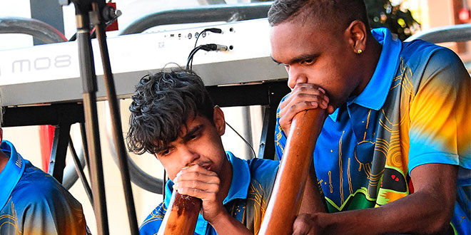 Didgeridoo players Mathew Ederer and Keane Ryan