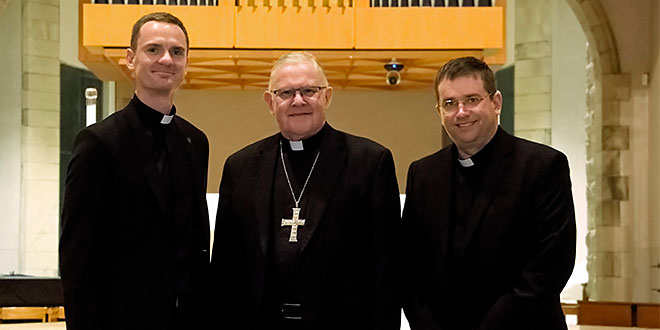 Fr Thomas Zaranski, Archbishop Mark Coleridge, and Fr Damien Everitt