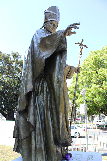 Pope John Paul II statue in Parramatta