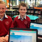 Lucas Want and Braeden Gates with their websites