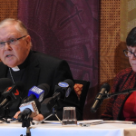 Archbishop Coleridge and Sr Monica Cavanagh address the media at a press conference on the Church's response to the Royal Commission
