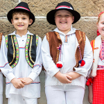 Dressed in keeping with their Croatian heritage are (from left) Dalibor Medjedovic, Cooper Sarcevic, and Noah and Nadia Mccandless.