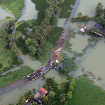 Road submerged in Kerala, India
