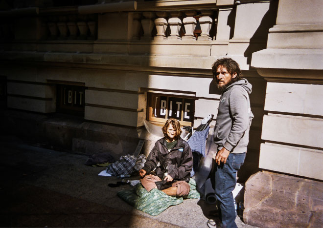 Two homeless men on the streets of Brisbane