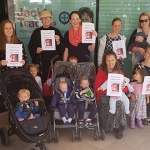 Mothers and children pray Rosary outside Jackie Trad's office