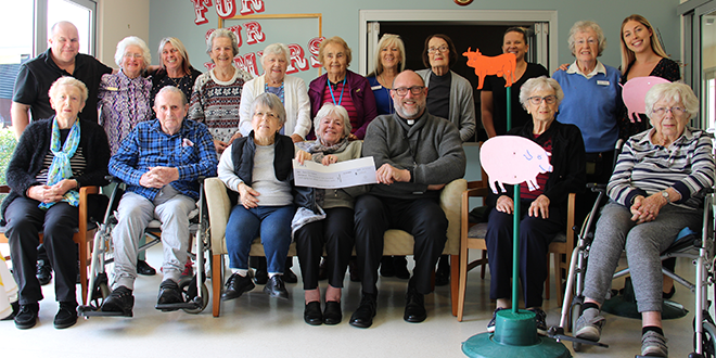 Fr Paul Gooley with Port Macquarie aged care residents