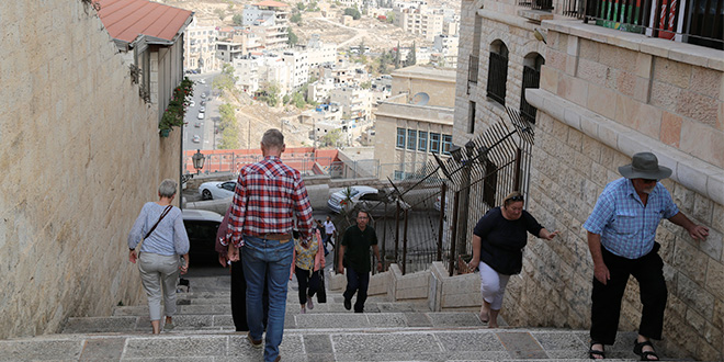 Bethlehem city: A street scene in Bethlehem, the birthplace of Jesus.