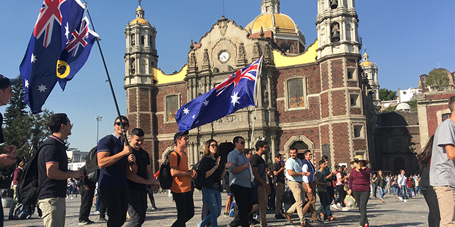Aussie pilgrims flying flag of faith on the way into Panama World Youth Day 2019