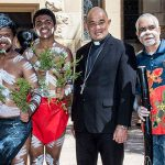Archbishop Peter Loy Chong sees islanders move to higher ground, visits Brisbane to raise awareness