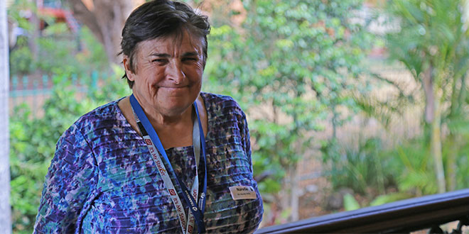 Big step: Narelle Willis was among a group of six Centacare clients attending an event hosted by Archbishop Mark Coleridge at his New Farm residence recently to commemorate the milestone of more than 1000 Centacare clients transitioing to the National Disability Insurance Scheme since the scheme started in July 2017. Photos: Joe Higgins