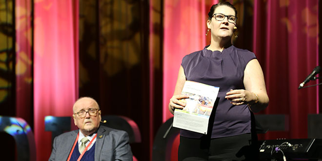 Leading the way: Plenary Council 2020 facilitator Lana Turvey-Collins addresses the Brisbane Assembly, with Fr Noel Connolly, a member of the council's facilitation team, looking on.
