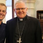 Centacare client Zac Kimber, his mum and Archbishop Coleridge