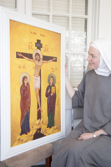 Sr Josephine Marie looks at her icon