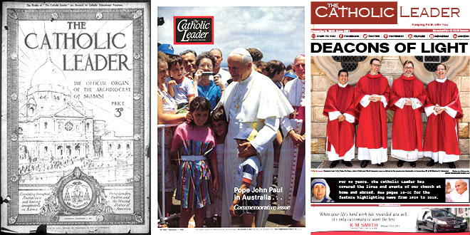 Various front covers of The Catholic Leader since 1929