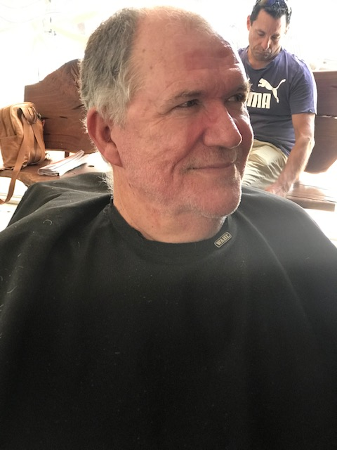 Michael Hutchinson after his fundraising shave