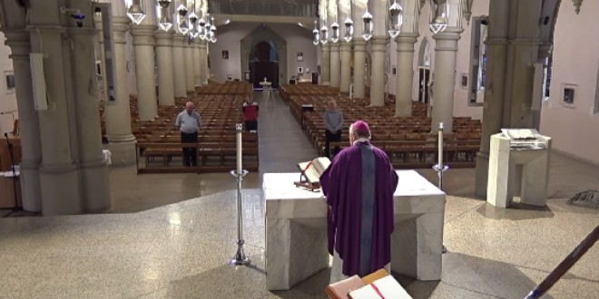 Archbishop Mark Coleridge presiding Mass inside a closed St Stephen's Cathedral