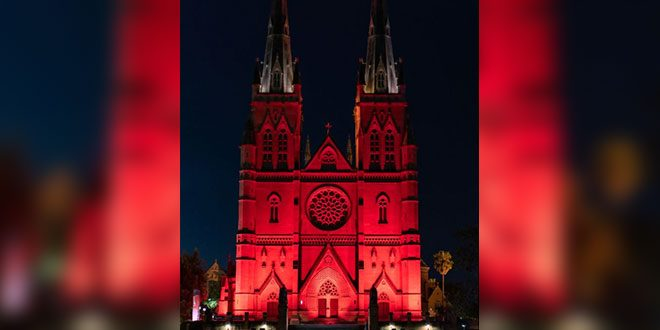sydney cathedral on red wednesday
