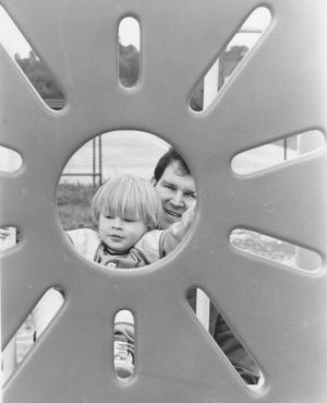 Daniel as a toddler with his Dad