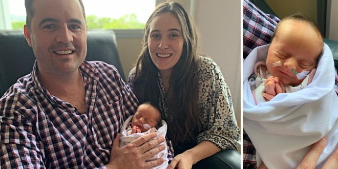 Damian and Therese Powick with their daughter Matilda Mary Powick