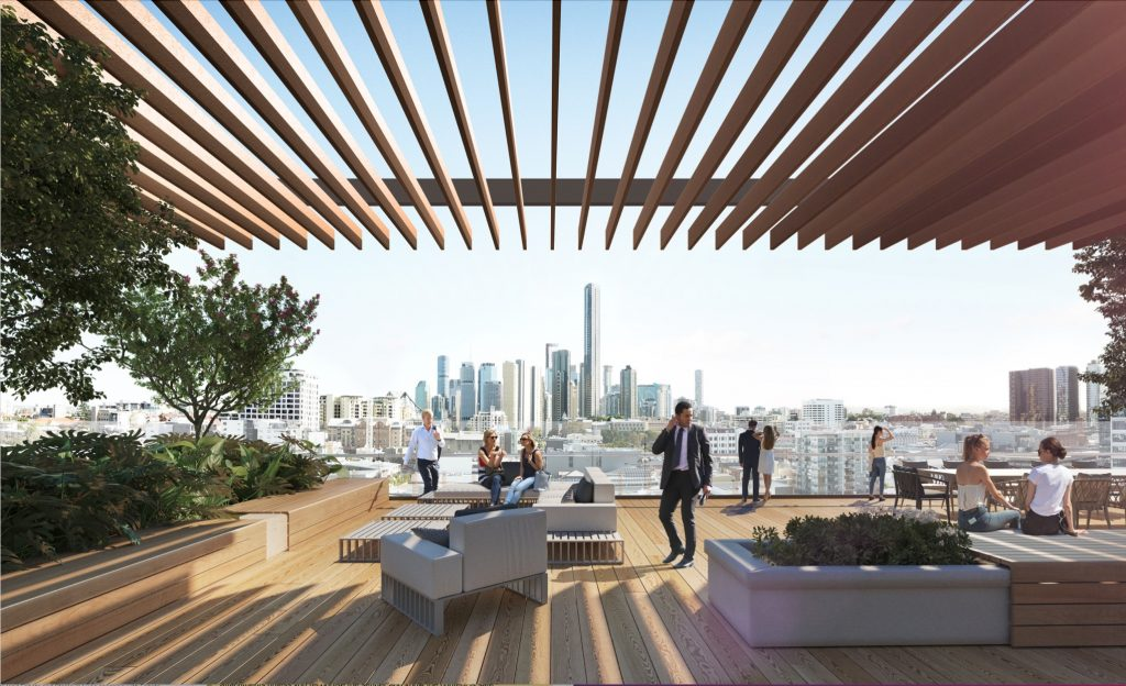 A rooftop terrace with a sweeping city view is a feature of the planned development.