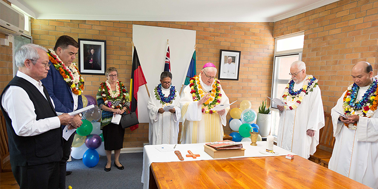 New building: Brisbane Archbishop Mark Coleridge blesses the new office building at St Mark's parish.