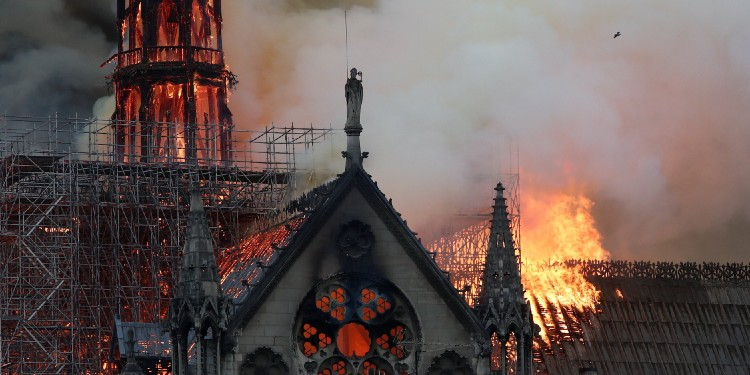 Inferno: Flames and smoke billow from Notre Dame Cathedral in Paris April 15, 2019.